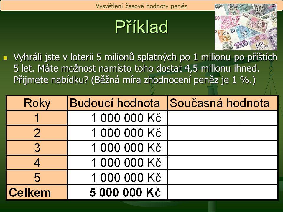 Příklad Vyhráli jste v loterii 5 milionů splatných po 1 milionu po příštích 5 let. Máte možnost namísto toho dostat 4,5 milionu ihned. Přijmete nabídk