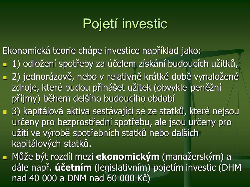 Pojetí investic Ekonomická teorie chápe investice například jako: 1) odložení spotřeby za účelem získání budoucích užitků, 1) odložení spotřeby za úče