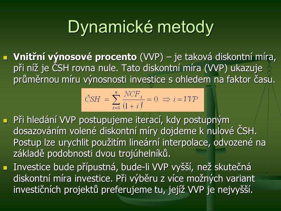 Dynamické metody Vnitřní výnosové procento (VVP) – je taková diskontní míra, při níž je ČSH rovna nule. Tato diskontní míra (VVP) ukazuje průměrnou mí