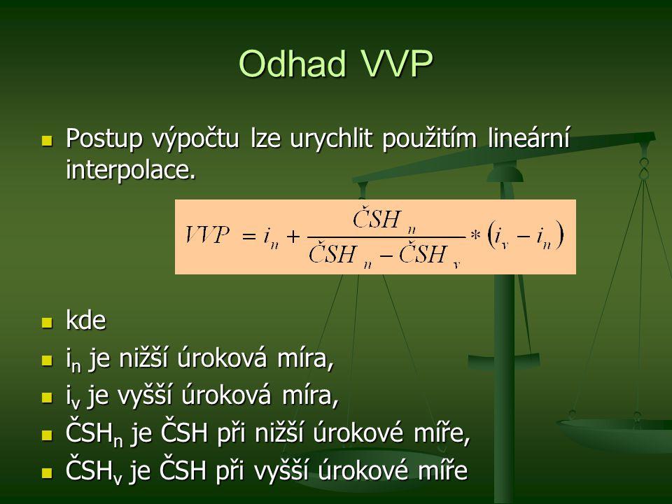 Odhad VVP Postup výpočtu lze urychlit použitím lineární interpolace. Postup výpočtu lze urychlit použitím lineární interpolace. kde kde i n je nižší ú