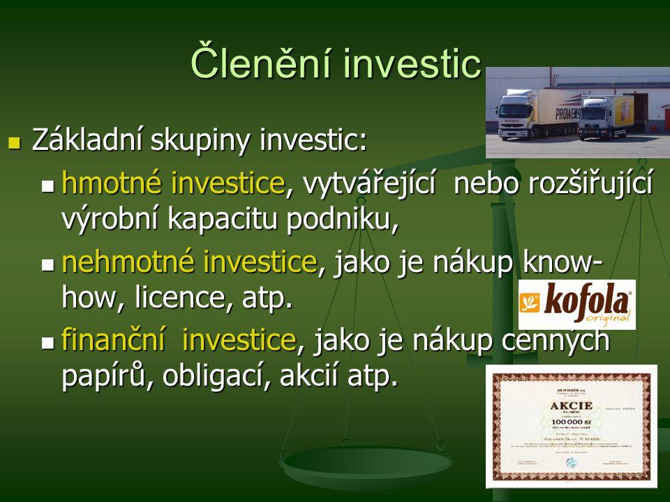 Členění investic Základní skupiny investic: Základní skupiny investic: hmotné investice, vytvářející nebo rozšiřující výrobní kapacitu podniku, hmotné