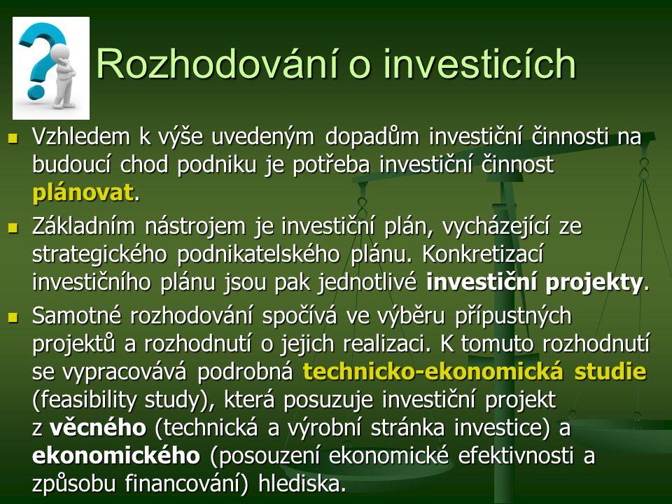 Rozhodování o investicích Vzhledem k výše uvedeným dopadům investiční činnosti na budoucí chod podniku je potřeba investiční činnost plánovat. Vzhlede