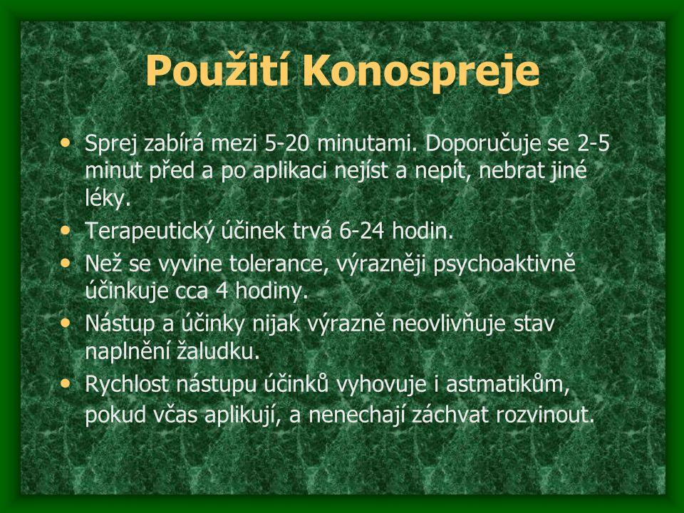 Použití Konospreje Sprej zabírá mezi 5-20 minutami. Doporučuje se 2-5 minut před a po aplikaci nejíst a nepít, nebrat jiné léky. Terapeutický účinek t