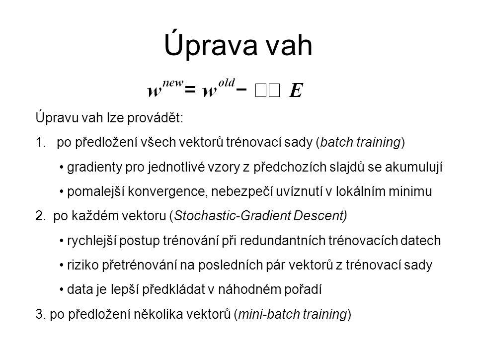Úprava vah Úpravu vah lze provádět: 1. po předložení všech vektorů trénovací sady (batch training) gradienty pro jednotlivé vzory z předchozích slajdů