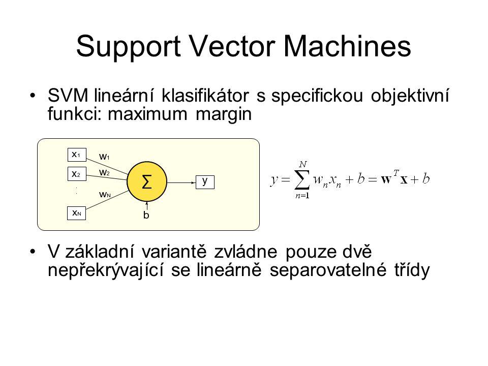 SVM lineární klasifikátor s specifickou objektivní funkci: maximum margin V základní variantě zvládne pouze dvě nepřekrývající se lineárně separovatel