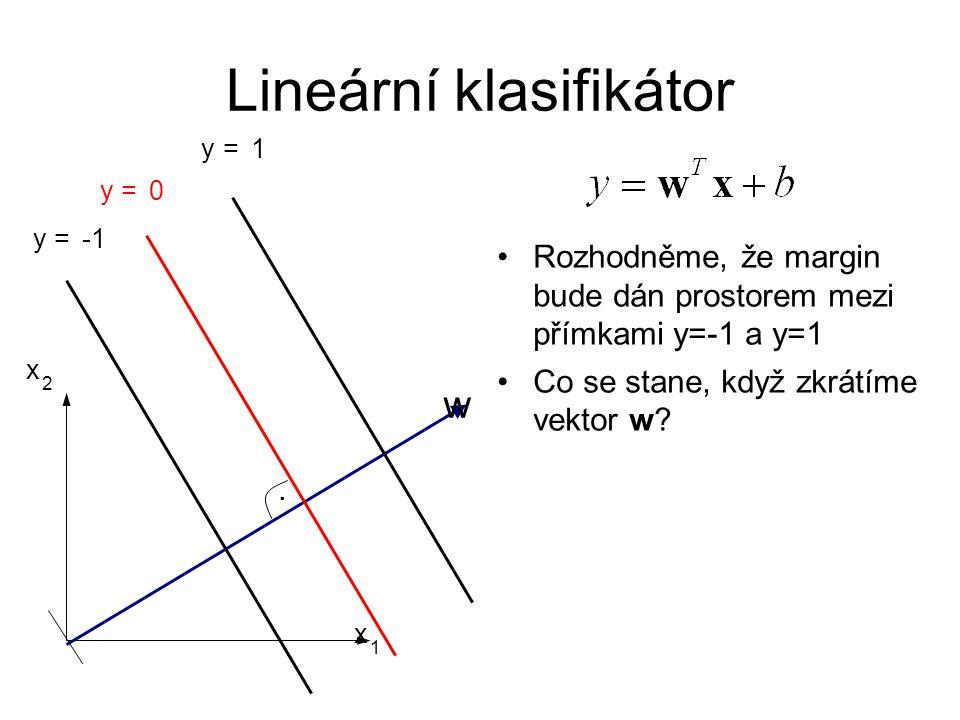 Lineární klasifikátor. w y = 0 x 1 x 2 y = 1 y = Rozhodněme, že margin bude dán prostorem mezi přímkami y=-1 a y=1 Co se stane, když zkrátíme vektor w