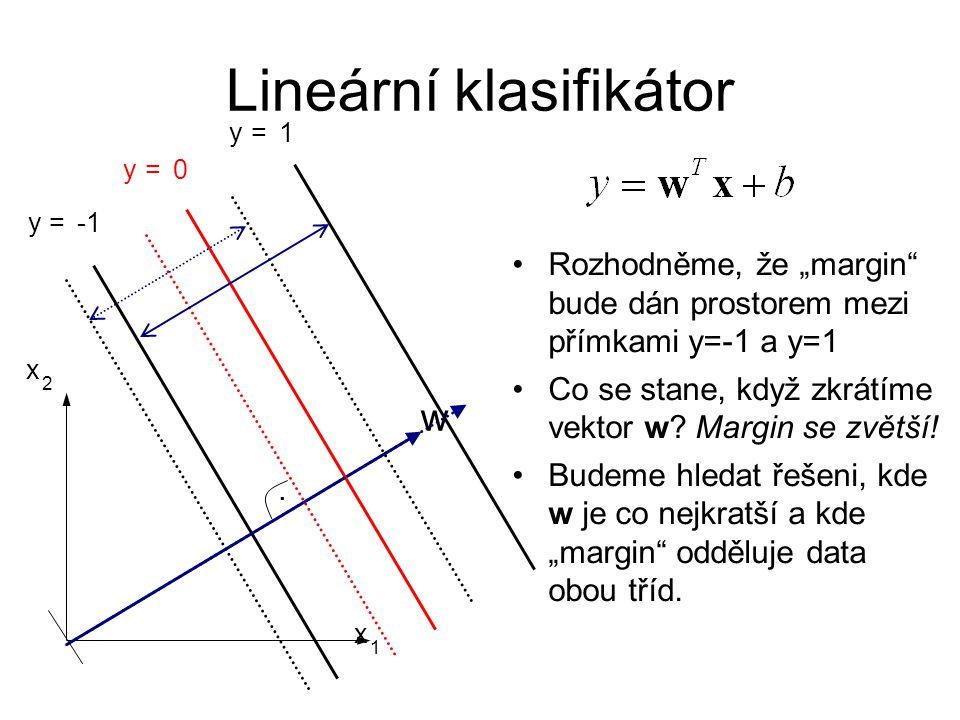 """Lineární klasifikátor. w y = 0 x 1 x 2 y = 1 y = Rozhodněme, že """"margin"""" bude dán prostorem mezi přímkami y=-1 a y=1 Co se stane, když zkrátíme vektor"""