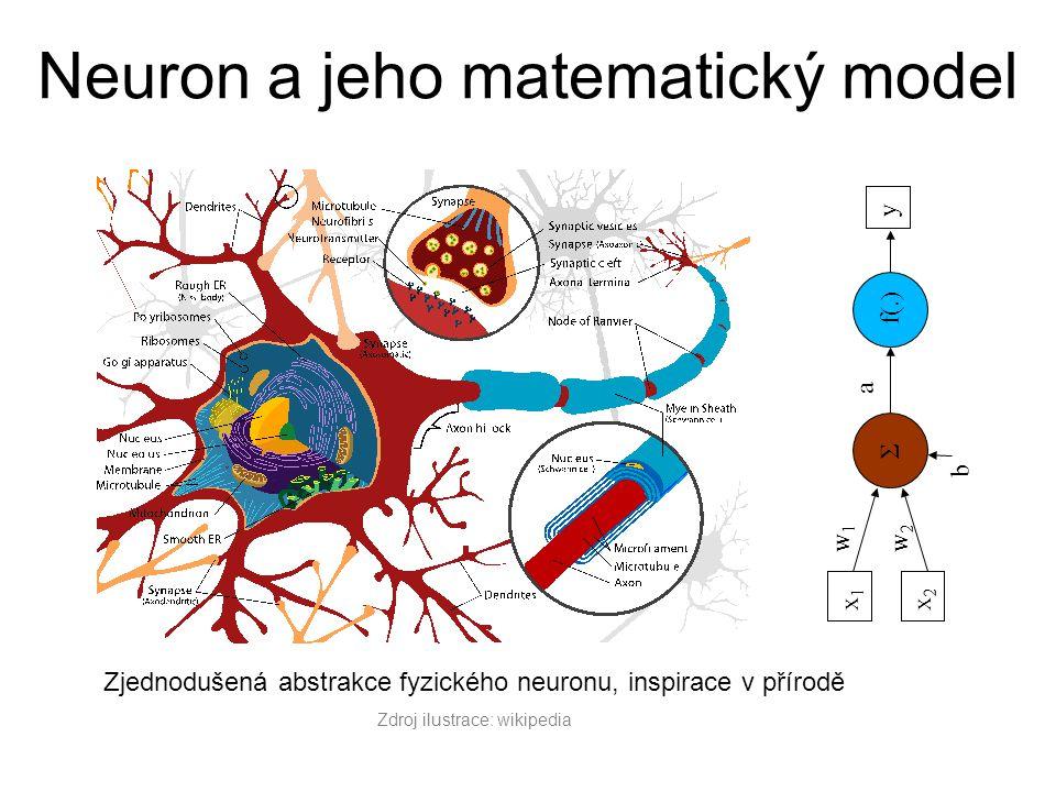 Zjednodušená abstrakce fyzického neuronu, inspirace v přírodě Zdroj ilustrace: wikipedia Σ f(.) y x1x1 x2x2 w1w1 w2w2 a b Neuron a jeho matematický mo