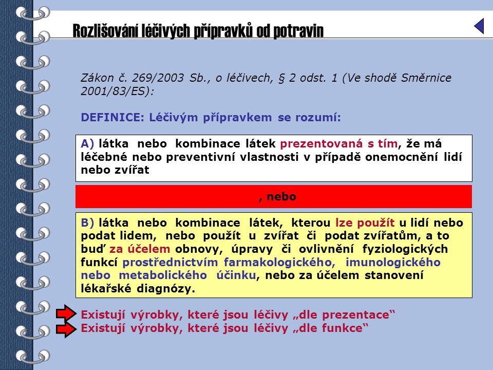 Rozlišování léčivých přípravků od potravin Zákon č.