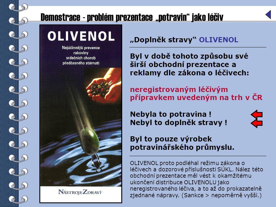 """Demostrace - problém prezentace """"potravin"""" jako léčiv """"Doplněk stravy"""" OLIVENOL Byl v době tohoto způsobu své širší obchodní prezentace a reklamy dle"""