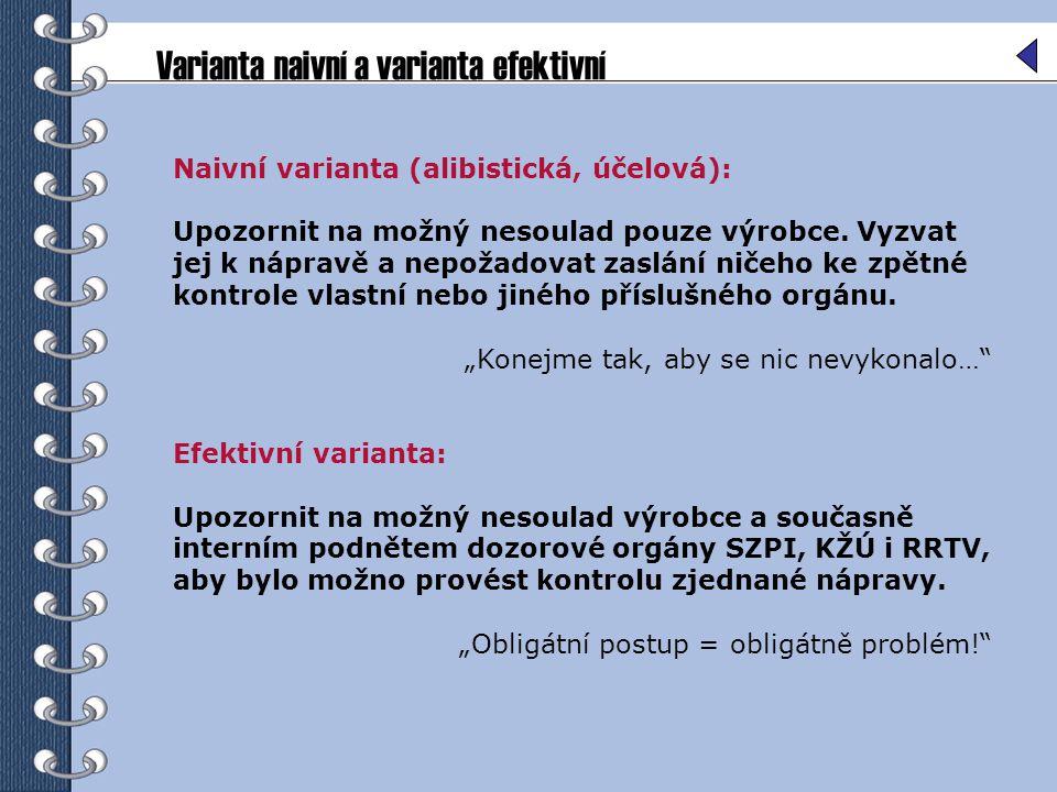 Varianta naivní a varianta efektivní Naivní varianta (alibistická, účelová): Upozornit na možný nesoulad pouze výrobce. Vyzvat jej k nápravě a nepožad