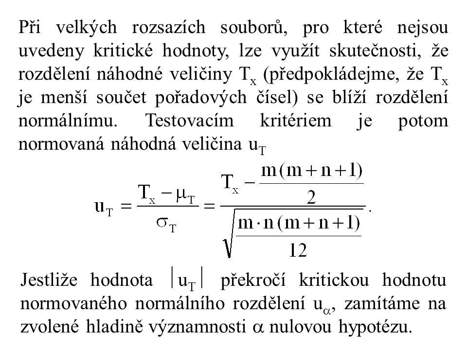Při velkých rozsazích souborů, pro které nejsou uvedeny kritické hodnoty, lze využít skutečnosti, že rozdělení náhodné veličiny T x (předpokládejme, že T x je menší součet pořadových čísel) se blíží rozdělení normálnímu.