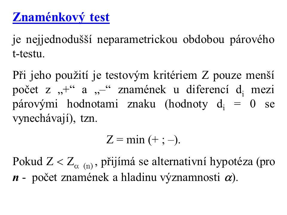 """Znaménkový test je nejjednodušší neparametrickou obdobou párového t-testu. Při jeho použití je testovým kritériem Z pouze menší počet z """"+"""" a """"–"""" znam"""