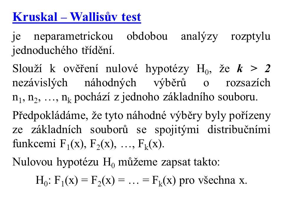 Kruskal – Wallisův test je neparametrickou obdobou analýzy rozptylu jednoduchého třídění. Slouží k ověření nulové hypotézy H 0, že k > 2 nezávislých n