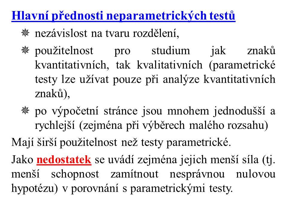 Hlavní přednosti neparametrických testů  nezávislost na tvaru rozdělení,  použitelnost pro studium jak znaků kvantitativních, tak kvalitativních (parametrické testy lze užívat pouze při analýze kvantitativních znaků),  po výpočetní stránce jsou mnohem jednodušší a rychlejší (zejména při výběrech malého rozsahu) Mají širší použitelnost než testy parametrické.