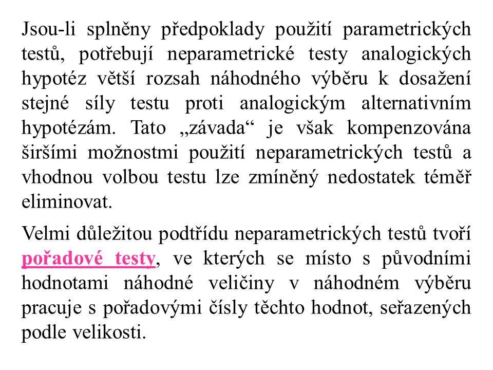 Jsou-li splněny předpoklady použití parametrických testů, potřebují neparametrické testy analogických hypotéz větší rozsah náhodného výběru k dosažení