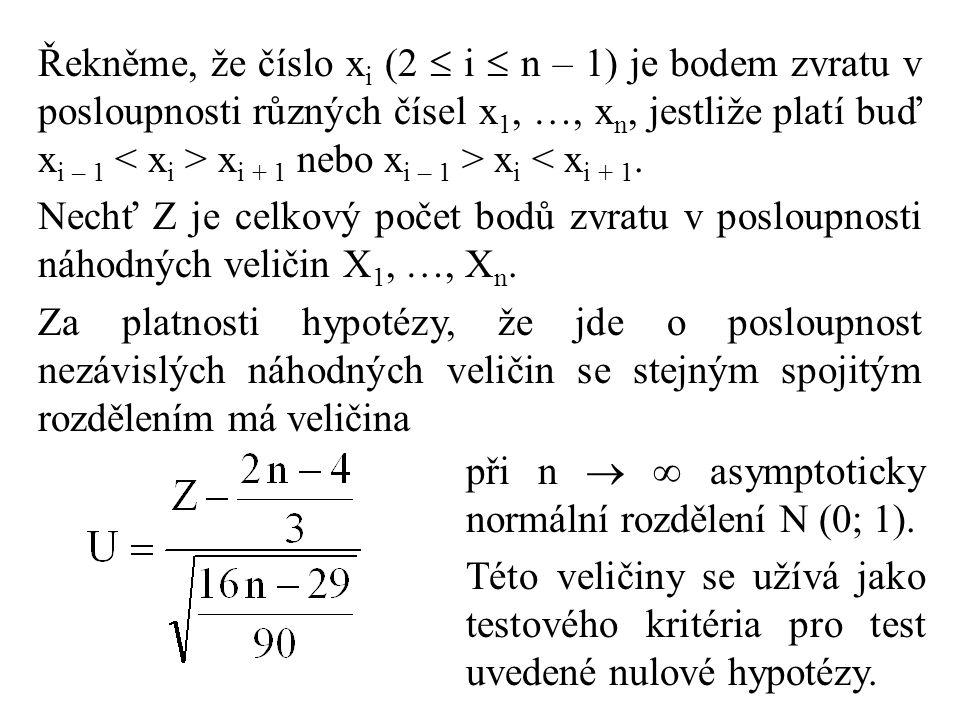 Řekněme, že číslo x i (2  i  n – 1) je bodem zvratu v posloupnosti různých čísel x 1, …, x n, jestliže platí buď x i – 1 x i + 1 nebo x i – 1 > x i