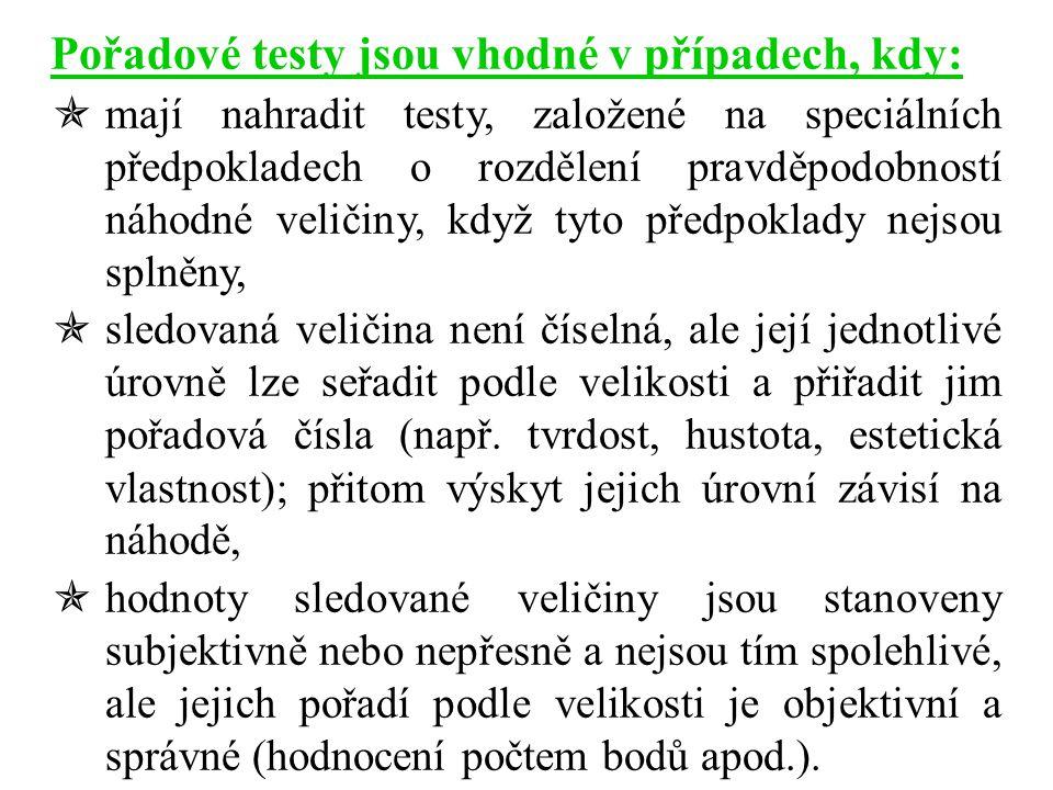 Pořadové testy jsou vhodné v případech, kdy:  mají nahradit testy, založené na speciálních předpokladech o rozdělení pravděpodobností náhodné veličin