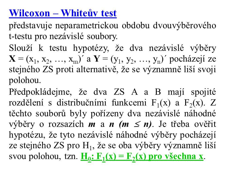 Wilcoxon – Whiteův test představuje neparametrickou obdobu dvouvýběrového t-testu pro nezávislé soubory.
