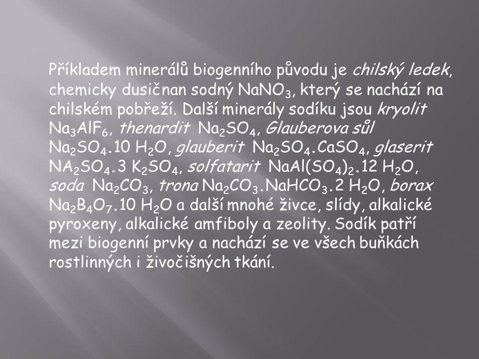 Příkladem minerálů biogenního původu je chilský ledek, chemicky dusičnan sodný NaNO 3, který se nachází na chilském pobřeží. Další minerály sodíku jso