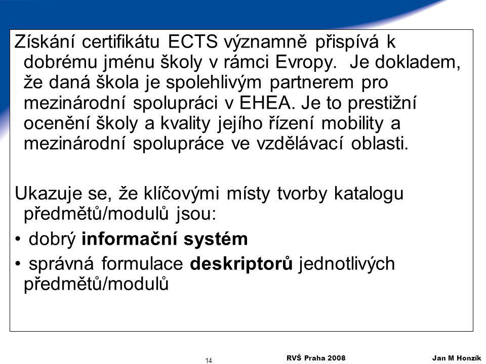 RVŠ Praha 2008 Jan M Honzík 14 Získání certifikátu ECTS významně přispívá k dobrému jménu školy v rámci Evropy. Je dokladem, že daná škola je spolehli