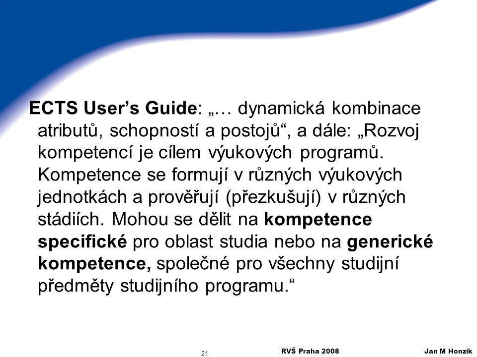 """RVŠ Praha 2008 Jan M Honzík 21 ECTS User's Guide: """"… dynamická kombinace atributů, schopností a postojů"""", a dále: """"Rozvoj kompetencí je cílem výukovýc"""
