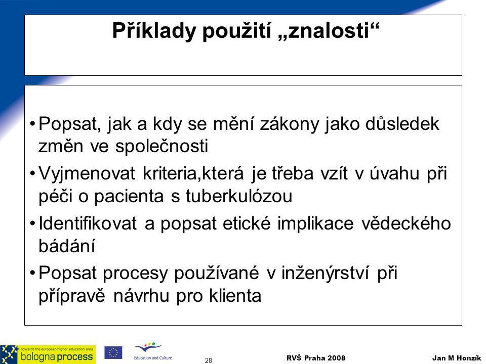 """RVŠ Praha 2008 Jan M Honzík 28 Příklady použití """"znalosti"""" Popsat, jak a kdy se mění zákony jako důsledek změn ve společnosti Vyjmenovat kriteria,kter"""
