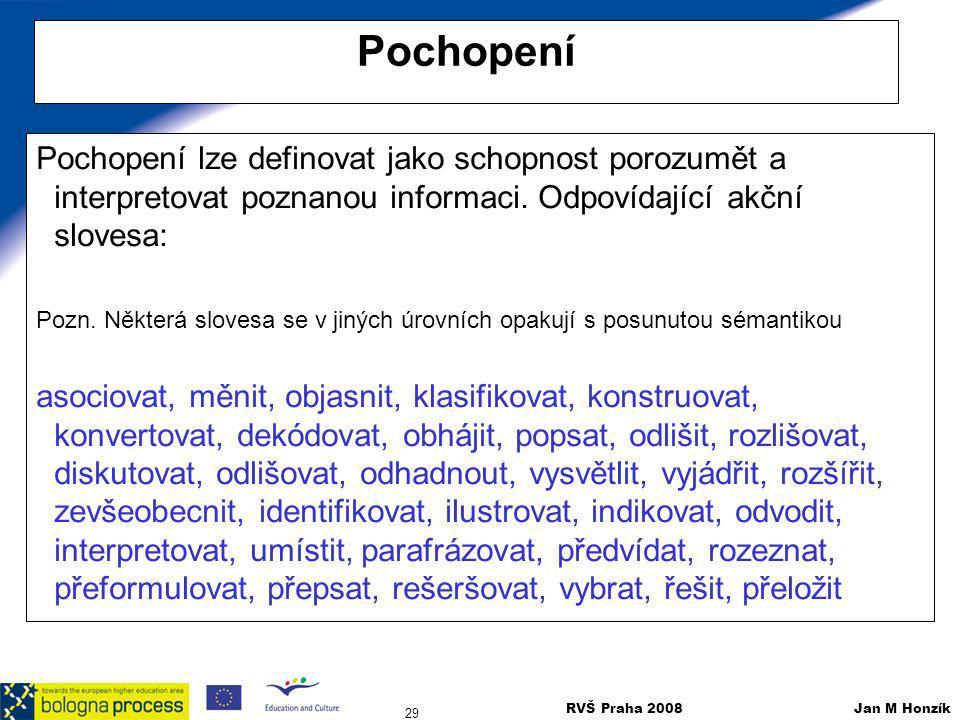 RVŠ Praha 2008 Jan M Honzík 29 Pochopení Pochopení lze definovat jako schopnost porozumět a interpretovat poznanou informaci. Odpovídající akční slove