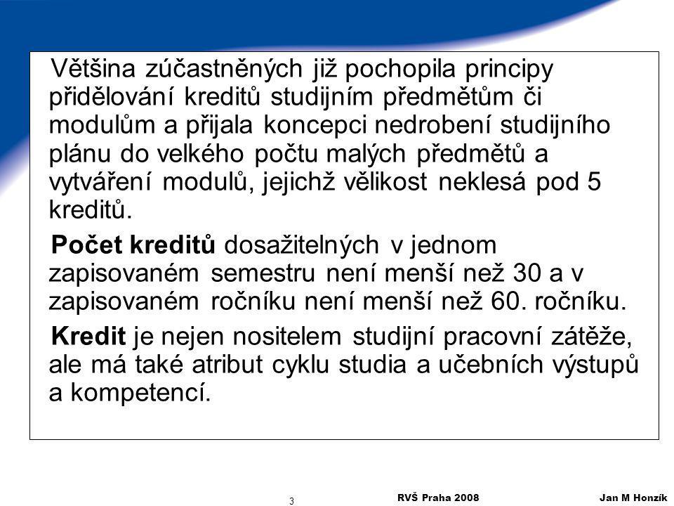 RVŠ Praha 2008 Jan M Honzík 3 Většina zúčastněných již pochopila principy přidělování kreditů studijním předmětům či modulům a přijala koncepci nedrob