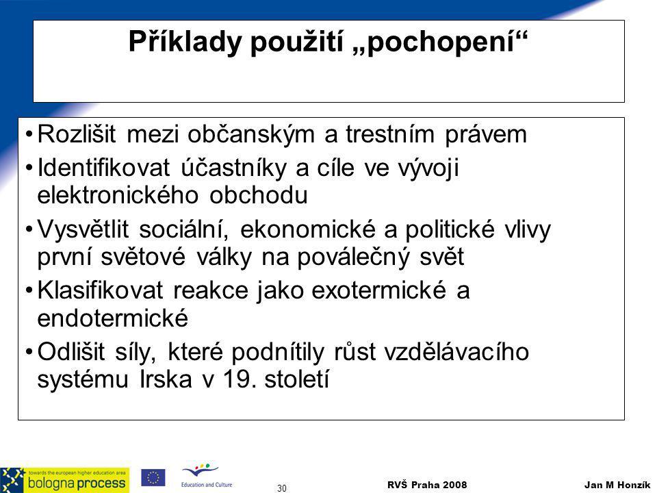 """RVŠ Praha 2008 Jan M Honzík 30 Příklady použití """"pochopení"""" Rozlišit mezi občanským a trestním právem Identifikovat účastníky a cíle ve vývoji elektro"""