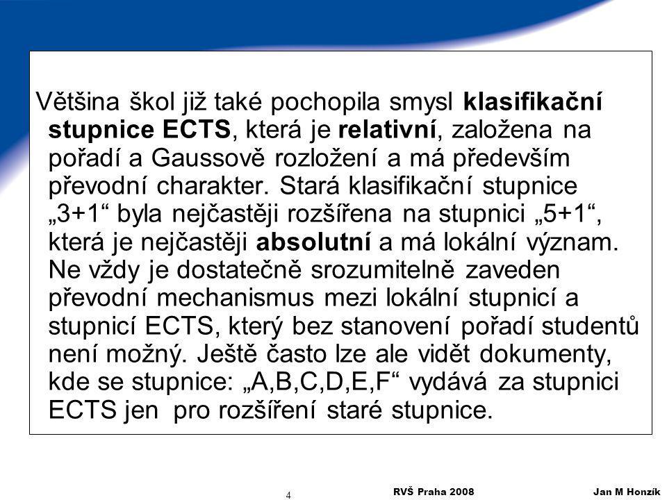 RVŠ Praha 2008 Jan M Honzík 4 Většina škol již také pochopila smysl klasifikační stupnice ECTS, která je relativní, založena na pořadí a Gaussově rozl