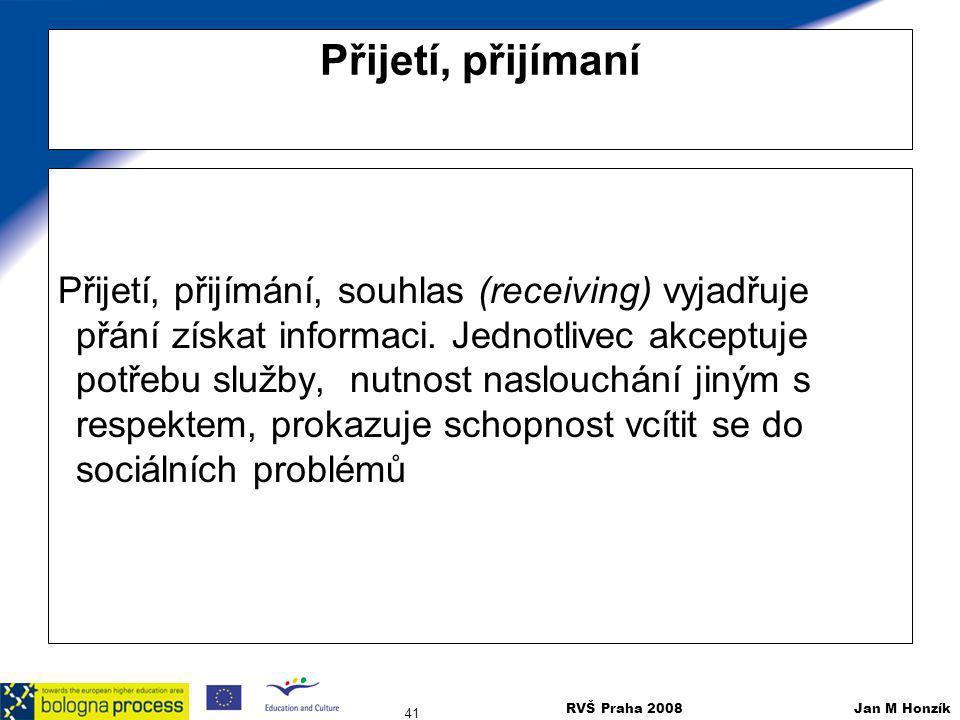 RVŠ Praha 2008 Jan M Honzík 41 Přijetí, přijímaní Přijetí, přijímání, souhlas (receiving) vyjadřuje přání získat informaci. Jednotlivec akceptuje potř