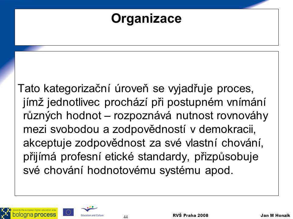 RVŠ Praha 2008 Jan M Honzík 44 Organizace Tato kategorizační úroveň se vyjadřuje proces, jímž jednotlivec prochází při postupném vnímání různých hodno