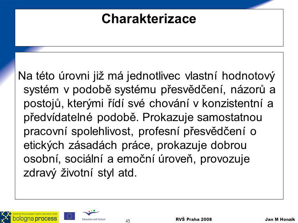 RVŠ Praha 2008 Jan M Honzík 45 Charakterizace Na této úrovni již má jednotlivec vlastní hodnotový systém v podobě systému přesvědčení, názorů a postoj