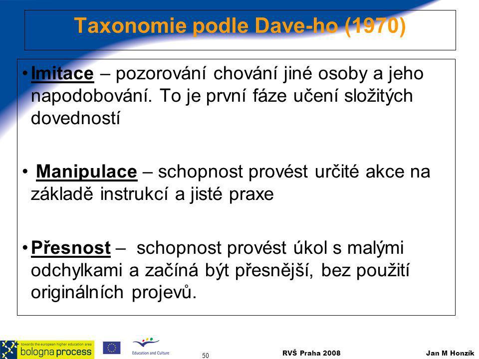 RVŠ Praha 2008 Jan M Honzík 50 Taxonomie podle Dave-ho (1970) Imitace – pozorování chování jiné osoby a jeho napodobování. To je první fáze učení slož
