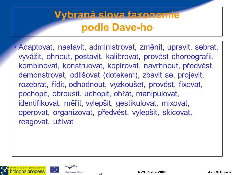 RVŠ Praha 2008 Jan M Honzík 52 Vybraná slova taxonomie podle Dave-ho Adaptovat, nastavit, administrovat, změnit, upravit, sebrat, vyvážit, ohnout, pos