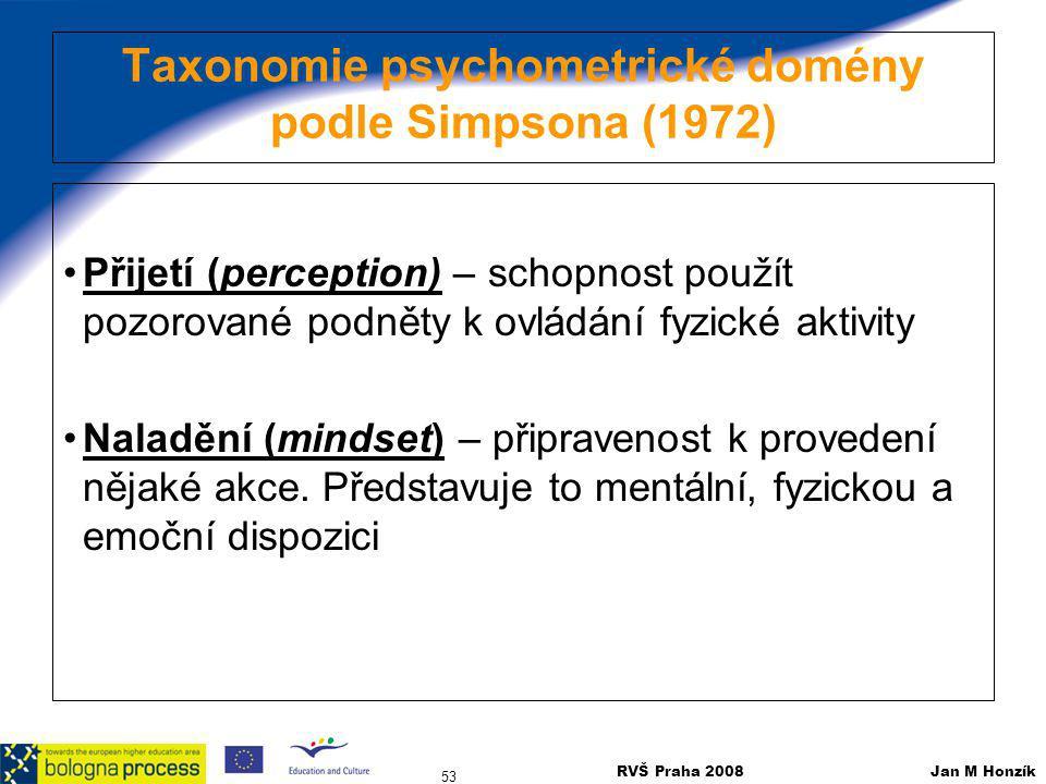 RVŠ Praha 2008 Jan M Honzík 53 Taxonomie psychometrické domény podle Simpsona (1972) Přijetí (perception) – schopnost použít pozorované podněty k ovlá
