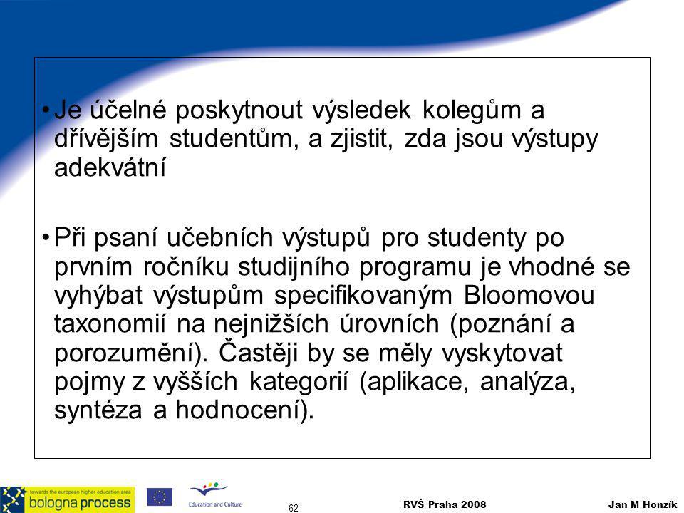 RVŠ Praha 2008 Jan M Honzík 62 Je účelné poskytnout výsledek kolegům a dřívějším studentům, a zjistit, zda jsou výstupy adekvátní Při psaní učebních v