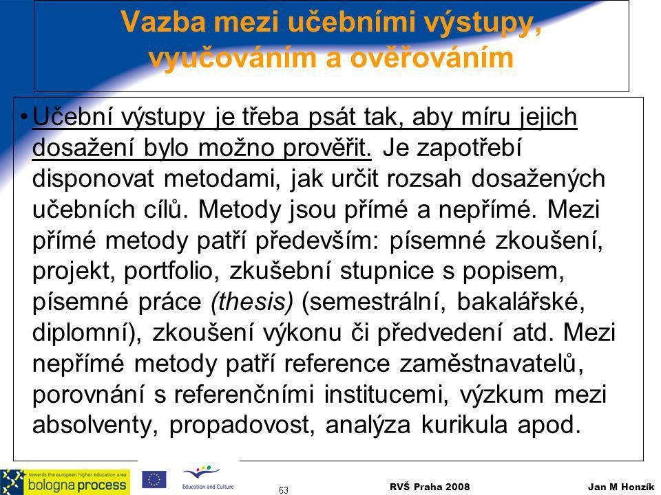 RVŠ Praha 2008 Jan M Honzík 63 Vazba mezi učebními výstupy, vyučováním a ověřováním Učební výstupy je třeba psát tak, aby míru jejich dosažení bylo mo