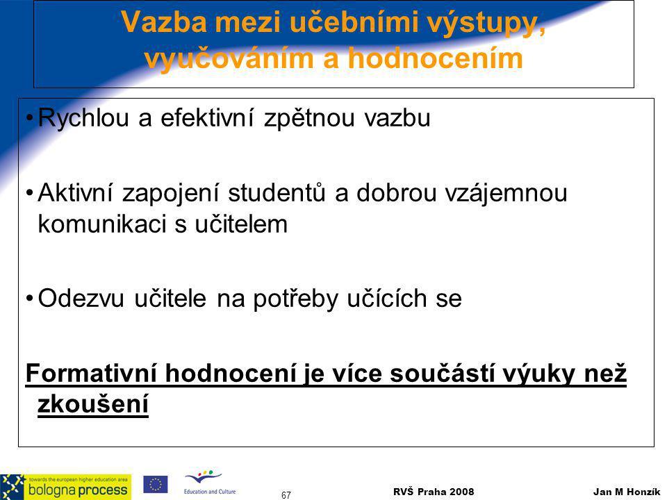RVŠ Praha 2008 Jan M Honzík 67 Vazba mezi učebními výstupy, vyučováním a hodnocením Rychlou a efektivní zpětnou vazbu Aktivní zapojení studentů a dobr