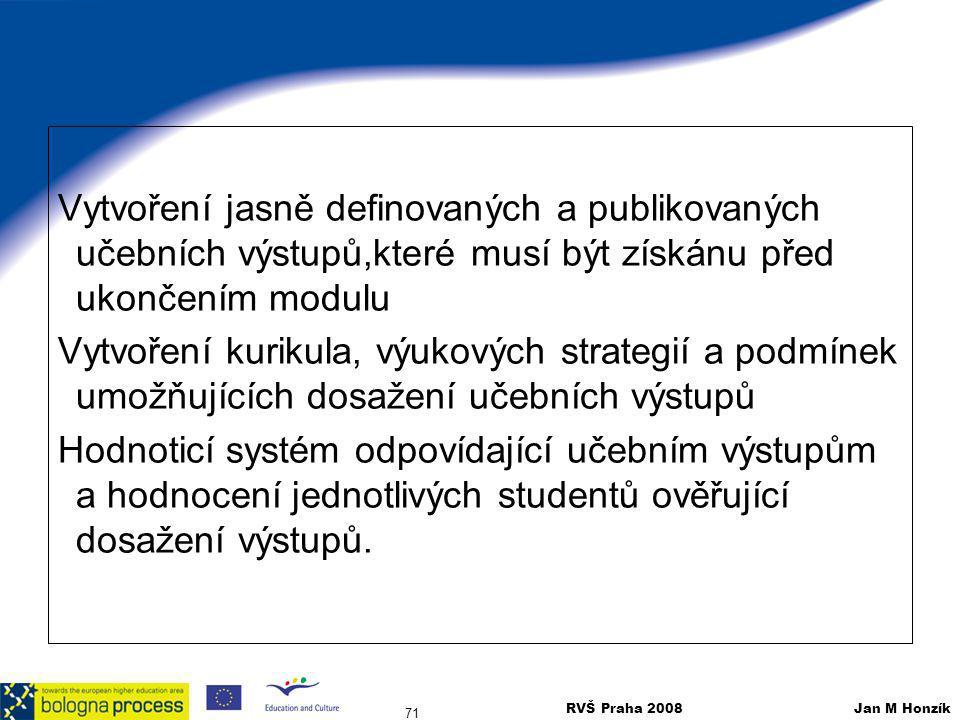 RVŠ Praha 2008 Jan M Honzík 71 Vytvoření jasně definovaných a publikovaných učebních výstupů,které musí být získánu před ukončením modulu Vytvoření ku