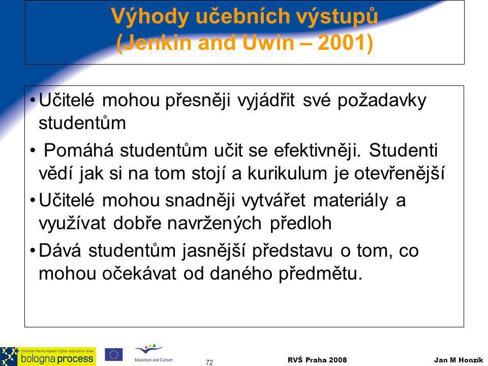 RVŠ Praha 2008 Jan M Honzík 72 Výhody učebních výstupů (Jenkin and Uwin – 2001) Učitelé mohou přesněji vyjádřit své požadavky studentům Pomáhá student
