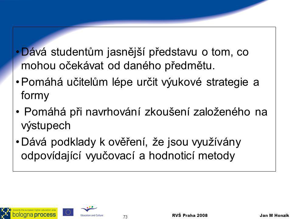 RVŠ Praha 2008 Jan M Honzík 73 Dává studentům jasnější představu o tom, co mohou očekávat od daného předmětu. Pomáhá učitelům lépe určit výukové strat
