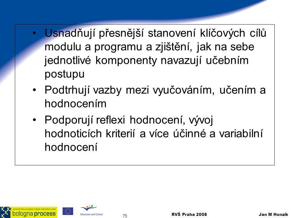 RVŠ Praha 2008 Jan M Honzík 75 Usnadňují přesnější stanovení klíčových cílů modulu a programu a zjištění, jak na sebe jednotlivé komponenty navazují u