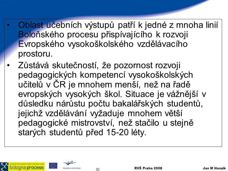 RVŠ Praha 2008 Jan M Honzík 82 Oblast učebních výstupů patří k jedné z mnoha linií Boloňského procesu přispívajícího k rozvoji Evropského vysokoškolsk