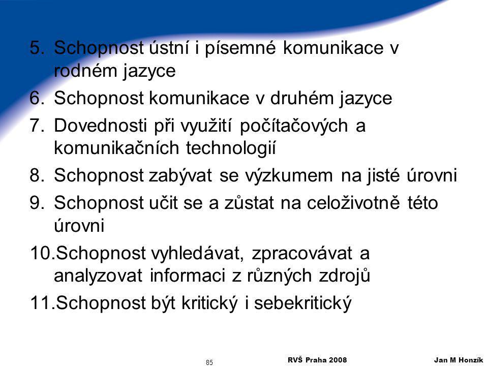 RVŠ Praha 2008 Jan M Honzík 85 5.Schopnost ústní i písemné komunikace v rodném jazyce 6.Schopnost komunikace v druhém jazyce 7.Dovednosti při využití