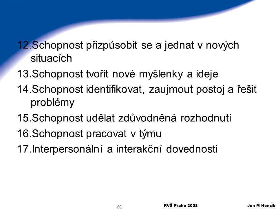 RVŠ Praha 2008 Jan M Honzík 86 12.Schopnost přizpůsobit se a jednat v nových situacích 13.Schopnost tvořit nové myšlenky a ideje 14.Schopnost identifi