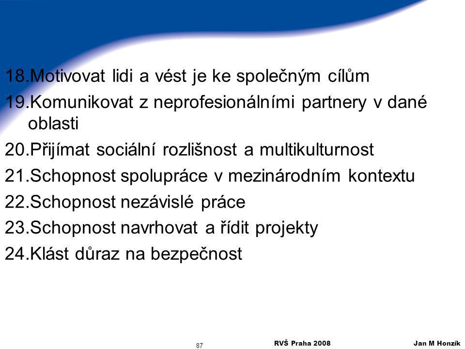 RVŠ Praha 2008 Jan M Honzík 87 18.Motivovat lidi a vést je ke společným cílům 19.Komunikovat z neprofesionálními partnery v dané oblasti 20.Přijímat s