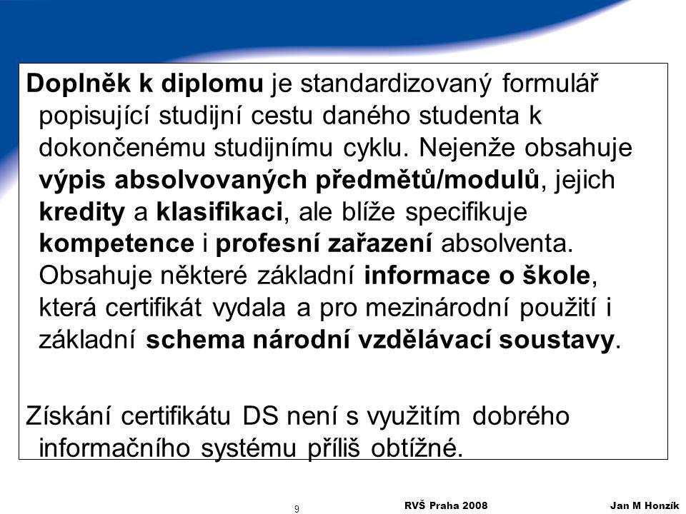 RVŠ Praha 2008 Jan M Honzík 9 Doplněk k diplomu je standardizovaný formulář popisující studijní cestu daného studenta k dokončenému studijnímu cyklu.