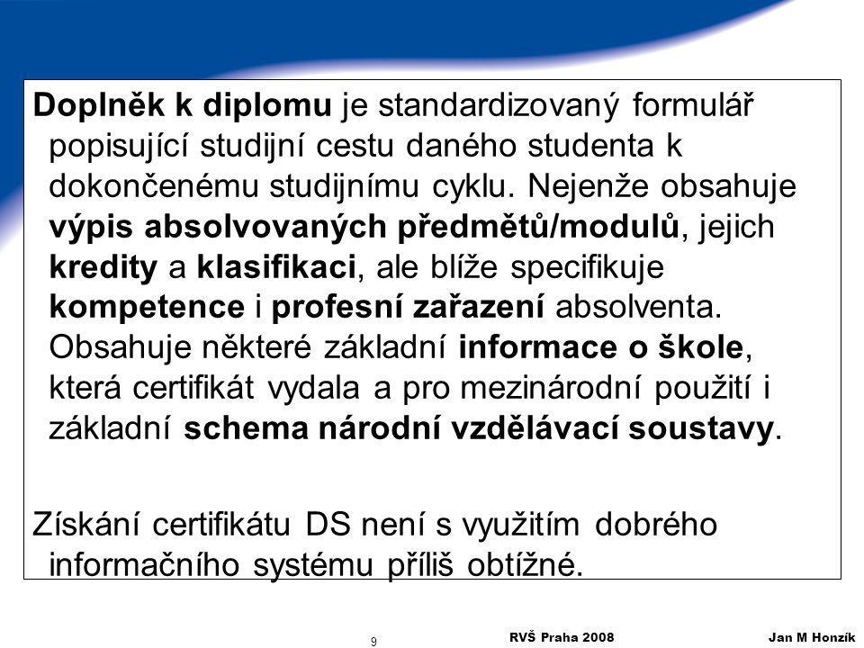 RVŠ Praha 2008 Jan M Honzík 10 Příklad Doplňku k diplomu